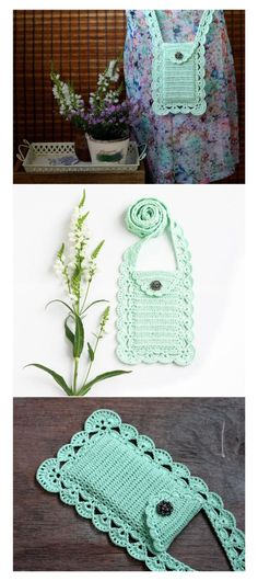 Mint crossbody phone purse Boho chic Back to school Cell phone pouch Smartphone bag Wallet Case Cover Crochet lace Gift for her Summer - pinned by http://pin4etsy.com