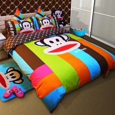We would love to cozy up in this Paul Frank-ified bed! Paul Frank, Mini Office, Bed Styling, Dream Rooms, Kid Beds, My Room, Bed Sheets, Bedding Sets, Bean Bag Chair