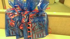 """Thanks for """"popping by"""" gift.  Place one or two bags of popcorn in a bag with a simple ribbon and a note."""
