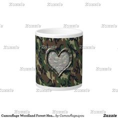 Camouflage Woodland Forest Heart on Camo Giant Coffee Mug #Camouflage4you #Gravityx9