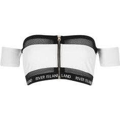 River Island White mesh zip front bardot bikini to. Crop Top Outfits, Edgy Outfits, Mode Outfits, Cute Casual Outfits, Girls Fashion Clothes, Teen Fashion Outfits, Girl Outfits, Emo Fashion, Swimsuit Tops