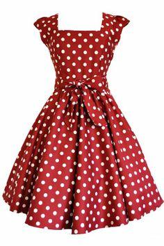 Red Wine Polka Dot Swing Dress - Lady Vintage