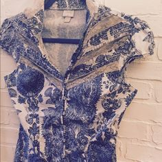 Laced top Super BoHo fancy top with Pearl buttons vintage Victorian print. Lace accents Tops Button Down Shirts