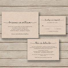 Wedding Invitation Template - Rustic Wedding Printable - EDITABLE by YOU in Word - Print on Kraft - DIY Invite