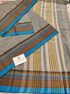 Grey Cotton saree with Thread woven Border And Running Blouse
