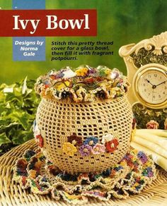 Y329 Crochet PATTERN ONLY Floral Ivy Bowl Vase Cover and Doily Pattern | BeadedBundles -  on ArtFire