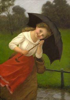Carl von Bergen – German) - Madchen mit Regenschirm (Girl With Umbrella) Umbrella Art, Under My Umbrella, Bergen, Illustrations, Illustration Art, Beauty In Art, Umbrellas Parasols, Singing In The Rain, Portraits