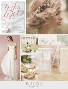 We're always inspired by the beautiful wedding dresses and decor from BHLDN, so we were thrilled when they wanted to create an inspiration board for us. Inspired by the Exquisite Love wedding invitation from the @BHLDN Weddings Collection for @Wedding Paper Divas, the board is pure romance. From soft hairstyles to ethereal chair banners, this is for a timeless bride who knows her big day is all about love.