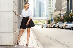 Black and white. Look more stylish at the office.neoprene skirt, office idea, custum-made Classy And Fabulous, Leather Skirt, Charlotte, Mini Skirts, Girly, Black And White, Stylish, Blouse, How To Wear