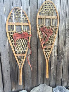 """Vintage Canadian Snowshoes c. 1940's, 20th century Wood, Rawhide, Leather, Metal (nails) 42 1/2""""l x 12 1/2""""w © Vintage Winter A clear example of traditional White Ash Canadian Snowshoes in very good c"""