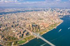 NYC.  Manhattan aerial view. Williamsburg Bridge by Ofir Ben Tov