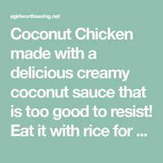 Coconut Chicken made with a delicious creamy coconut sauce that is too good to resist! Eat it with rice for a simple quick dinner. Coconut Sauce, Coconut Chicken, Keto Chicken, Low Carb Rice, Apple Cider Vinegar Chicken, Diet Recipes, Cooking Recipes, Cooking With Coconut Oil, Quick Easy Dinner