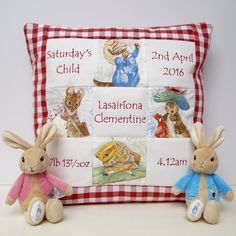 The perfect memory cushion to suit any baby or child. Baby Patchwork Quilt, Baby Quilts, Beatrix Potter Nursery, Peter Rabbit And Friends, Pillow Embroidery, Handmade Cushions, Machine Embroidery Designs, Palace, New Baby Products