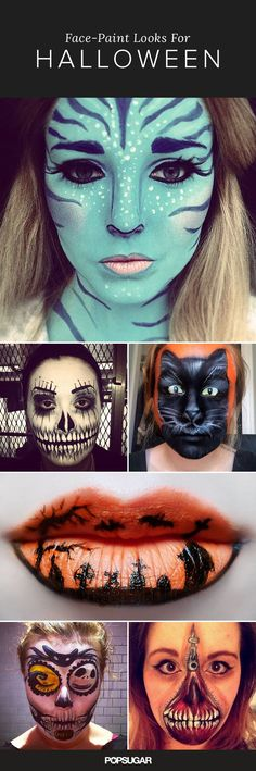 "We've covered the basics of Halloween makeup, from spooky nail art to eyes to this fresh Katy Perry's ""Dark Horse"" look. If you have already mastered the classic leopard tutorial, then you'll want to take your skills to the next level with the jaw-dropping face-paint ideas below. The requirements to complete these eye-catching looks? A steady hand, face paint, a brush, and patience!:"