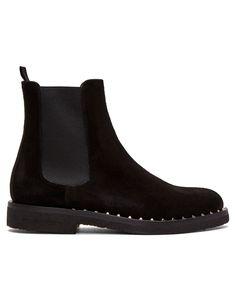 VALENTINO Black Valentino Garavani Suede Soul Rockstud Chelsea Boots · VERGLE