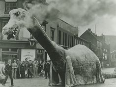 In 1938, Birmingham, England built three large dinosaur costumes.  For some reason.