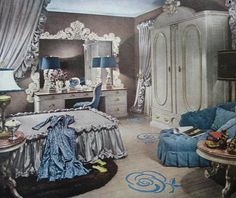 1947 - ivory and gold painted furniture, satin fabrics aren't quite the right color since we want a clearer blue, but close