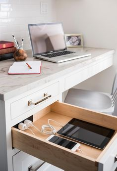 Home office with Docking Drawer in-drawer charging outlets. #sponsored