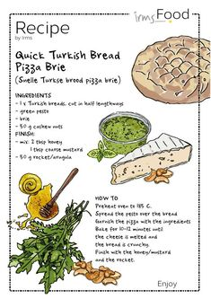 Quick and easy recipe Turkish bread pizza, delicious! With rocket, Brie honey, pesto and nuts. Try it! Check this illustrated recipe and free download on irmsblog.