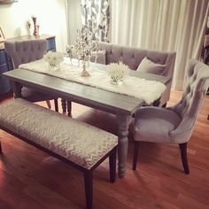 My new grey rustic chic dining table set. Tufted velvet chairs, velvet satee and chevron bench with farmhouse style table. Dinning Table With Bench, Table And Bench Set, Gray Dining Chairs, Dining Chair Set, Dining Tables, Dining Sets, Dinning Room Table Decor, Dinning Table Centerpiece, Rattan Chairs