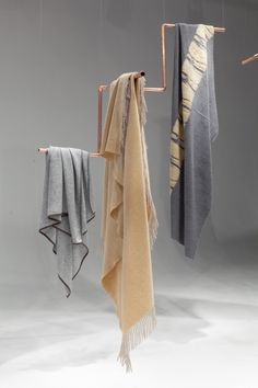 OYUNA London Mongolian Cashmere Installation from our 2014, Home Collection in Yellow and Grey