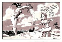 Harley and Ivy with Batman, in Ron Pittman's Bruce Timm Comic Art Gallery Room - 291039