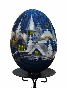 ck website for more eggs Crochet Toilet Roll Cover, Seed Bead Crafts, Carved Eggs, Cross Stitch Landscape, Beaded Boxes, Egg Crafts, Beaded Christmas Ornaments, Egg Art, Weaving Art