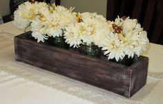 Distressed Wood Planter Box • Mason Jar Centerpiece, Long wood box, Candle Holder, Wedding Centerpiece • 21 inches long by Cozyhandcrafteddecor on Etsy