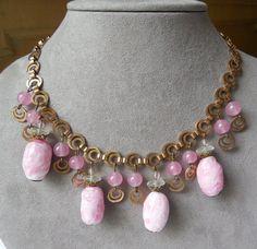 Vintage Pink Art Glass Dangle Bead Choker Necklace
