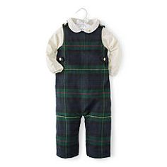 Tartan Wool-Blend Overall Set - Baby Boy All-in-ones - Ralph Lauren UK