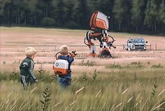 Simon Stålenhag (b. is the internationally acclaimed author, concept designer and artist behind Tales from the Loop and Things from the Flood. His highly imaginative images and stories depicting illusive sci-fi phenomena Arte Sci Fi, Sci Fi Art, Art Science Fiction, Sci Fi Kunst, Concept Art World, Futuristic Art, First Art, Surreal Art, Magazine Art