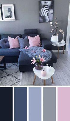 Dark Blue Pink Living Room Color Scheme Ideas - Zimmereinrichtung - Home flw Living Room Color Schemes, Living Room Paint, Living Room Decor On A Budget, Paint Colors For Living Room, Room Interior, New Living Room, Living Room Grey, Living Decor, Cozy Living Rooms