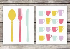 Kitchen Art Set Silverware & Cups Multicolor by ASpoonfulofHome, $10.00