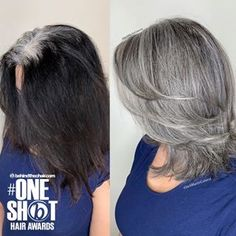 hair highlights black Embrace your gray by creating your natural root gray pattern into your black col. Embrace your gray by creating your natural root gray pattern into your black colored hair to a perfect blend and stop your nightmare… Silver Grey Hair, Hair Color For Black Hair, White Hair, Brown Hair, Shot Hair Styles, Curly Hair Styles, Grey Hair Transformation, Gray Hair Highlights, Gray Hair Growing Out