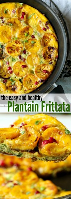Ripe Plantain is Slowly Simmered in a Herby and Cheesy Egg Mixture For a Nutrient-Dense & Healthy Breakfast Frittata. Easy and Healthy. For a diabetic-friendly recipe, replace the ripe plantain with green plantain. via @foodsfromafrica