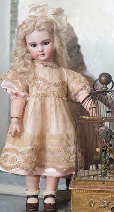 """Jumeau /SFBJ (Société Française de Fabrication de Bébés et Jouets) — 27"""" Bisque Bebe DEP Doll, circa 1900. (800×1486)"""