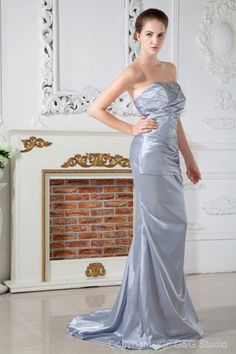 A-line Silver Satin Lace-up Sleeveless Natural Elegant/Romantic Floor-length Train Ruched/Beading/Sequins Elastic Sweep Sweetheart Woven Evening Dress