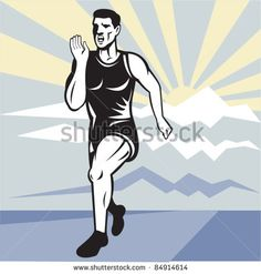 vector illustration of a illustration of a Marathon road runner jogger fitness training viewed from front set inside square with mountain and sunburst in background done in retro style. - stock vector #jogger #retro #illustration