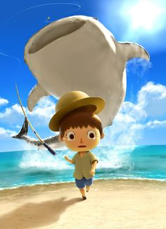 Animal Crossing - catching a whale shark~ lol exactly what I imagined when I first caught one hahah!