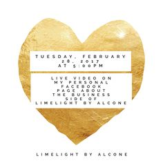 Tuesday evening at 5:00pm, on Tuesday, February 28, 2017, I will be going LIVE to go into complete detail about the business side of LimeLight by Alcone, along with sharing and showing exactly what comes in a starter kit.  Covering: • Career and Compensation Plan • Personal Commissions • Basic Starter Kit • Team Goals  Who's going? ❤ Let me know if you'd like a personal invite so you don't miss the fun! Facebook: Stacia E Beuhler