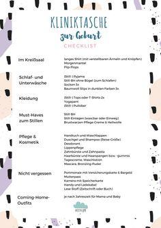 Checkliste: Kliniktasche zur Geburt