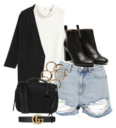 """Untitled #738"" by strangebirdd ❤ liked on Polyvore featuring H&M, Topshop, Monki, Stephane Kélian, Steve Madden and Gucci"