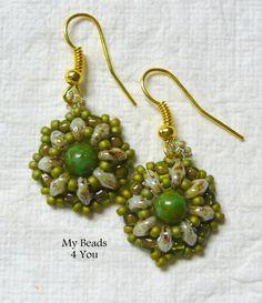 SuperDuo Beadwoven Earrings, Beadwork earrings, Beadwoven Earrings, Beaded Earrings, SuperDuo, Jewelry Gift