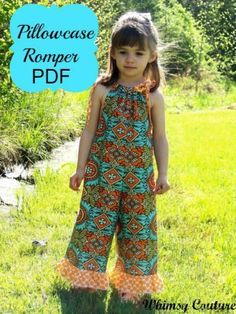 Pillowcase Romper PDF Sewing Pattern NB-10 girls with options | YouCanMakeThis.com