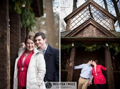 Longwood Gardens winter Christmas engagement photo session in a tree house! www.melissaenglephotography.com