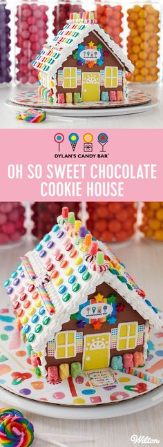 Oh So Sweet Dylan's Candy Bar Chocolate Cookie Gingerbread House - From the chocolate cookie house to all the bright and colorful yummy candy, Dylan's and Wilton presents the sweetest cookie house possible. Have fun and feel like a kid again as you gather family and friends and create this super sweet house! #dylanscandybar #gingerbreadhouse #christmas #wiltoncakes