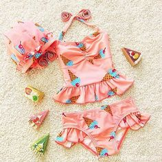5a7fc7f4a69a6 Two Pieces Baby Swimsuit Girl Swimwear Bikini 2017 New Cute Children  Swimsuit Print Cherry Ice Cream Swimming Suit For Girls