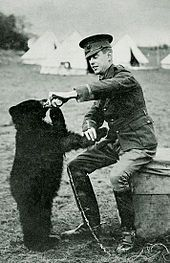"Harry Colebourn and Winnie, 1914. Wikipedia. Harry Colebourn (April 12, 1887 – September 24, 1947) was a Canadian veterinarian and soldier with the Royal Canadian Army Veterinary Corps best known for donating a bear cub named ""Winnie"" (short for ""Winnipeg"") to the London Zoo. Winnie later inspired the creation of A.A. Milne's famous children's book character Winnie-the-Pooh."