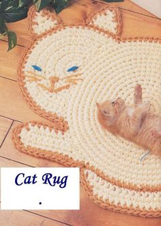 Pattern only Cat Rug Crochet Pattern x when made with rug yarn doubled and size N hook Pattern pages removed from crochet magazine. Pattern only, not completed item. Chat Crochet, Crochet Home, Love Crochet, Crochet Crafts, Crochet Baby, Crochet Rugs, Yarn Projects, Crochet Projects, Crochet Stitches