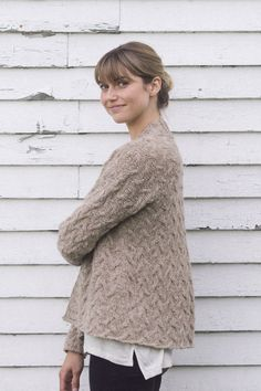 chestnt cardi by pam allen / from plain & simple: 11 knits to wear every day / in quince & co. owl, color tawny